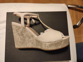 Zapatos LODI Sandalias con cuña de novia mujer 38