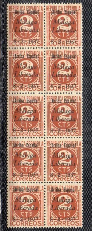 bloque de 10 sellos Guerra Civil Málaga