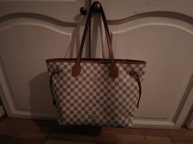neverfull mm damier azure Rose ballerin interior