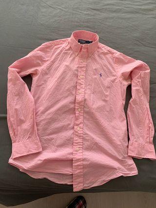Camisa cuadros blancos y rosa ralph lauren
