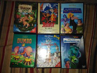 Películas en DVD Disney y asterix.
