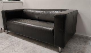 sofá ikea negro piel