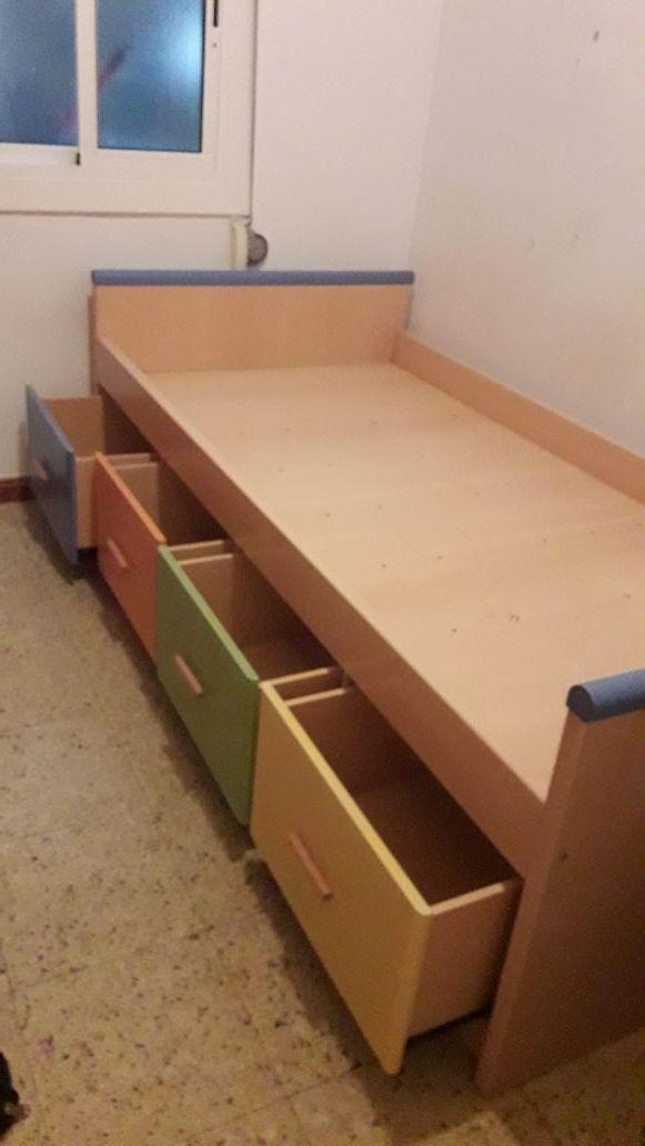 urgente cama individual con 4 cajones grandes