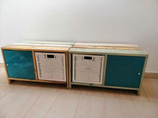 Mueble palets auxiliar. Mueble TV. 2 módulos.