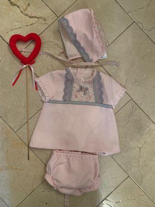 Vestido bebe 3 piezas Marta y Paula.Talla 9 meses