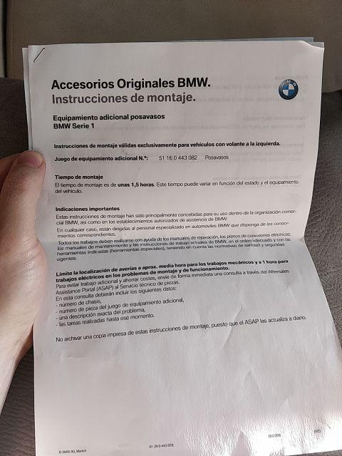 Portabebidas para BMW Serie 1 e81 e87