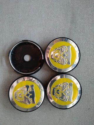 Tapabujes centro de ruedas Jaguar amarillo 60mm.