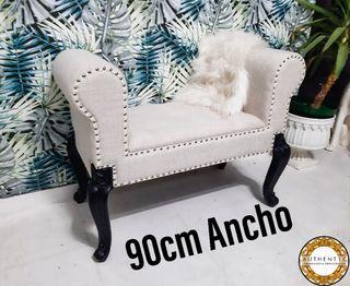 Banqueta Chester Capitone Blanco Roto 90cm Ancho