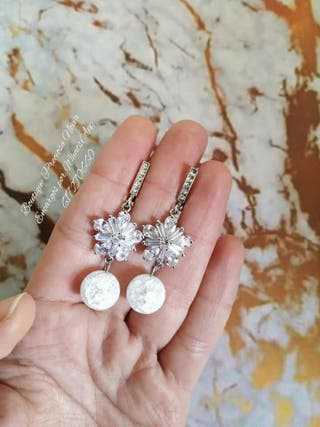 Pendientes Swarovski Joya para novia plata de ley