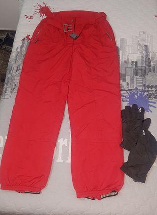 pantalon nieve chico talla 42 y guantes talla m