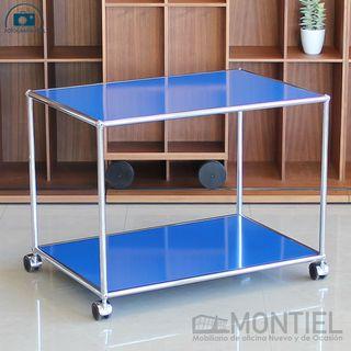 Mesa Auxiliar Azul de Diseño con Ruedas USM HALLER