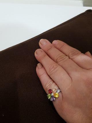 anillo búlgari flor de colores