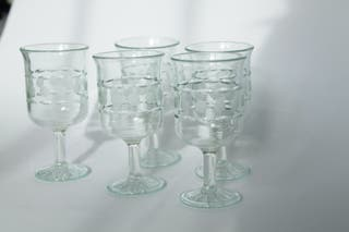 Copas de cristal verde vintage URSS 70´s