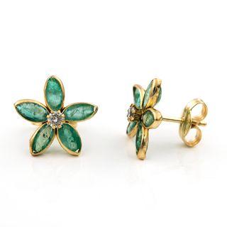 Pendientes oro esmeralda y diamantes diseño flor