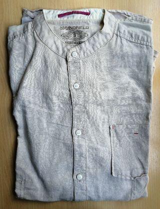 Camisa hombre lino y algodón cuello Mao