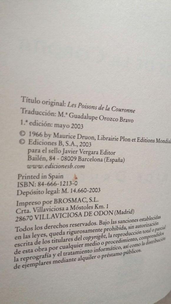 Libro Los venenos de la corona. Maurice Druon.