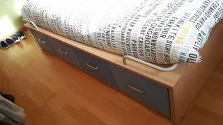 mueble cama juvenil con cajoneras