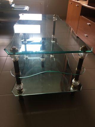 Mesa de centro de cristal con base de espejo