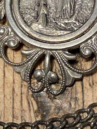 Antiguo colgante-cadena plata 1890 Virgen Lourde