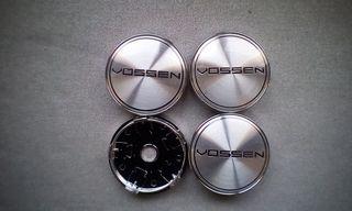 4 Tapabujes centro rueda Vossen plata negro 60mm