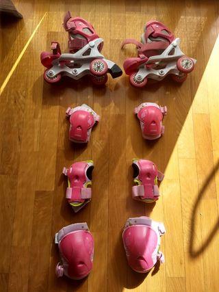 patines niña T.26-28 y protecciones