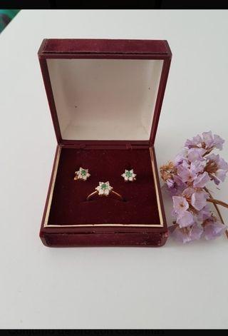 conjunto oro 18kt. anillo + pendientes