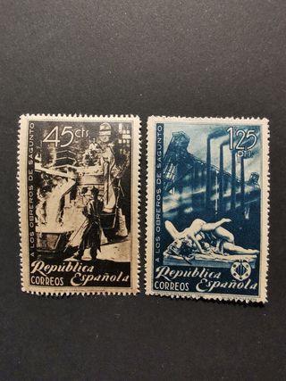 sellos 1938 Guerra Civil homenaje obreros Sagunto