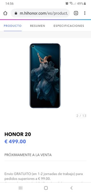 vendo honor 20 de paquete
