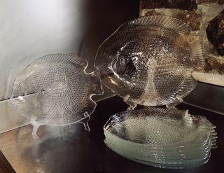 Platos de cristal para pescado