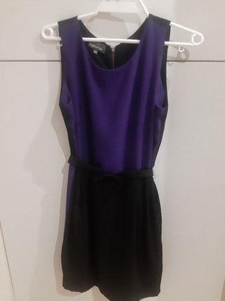 Vestido bicolor malva y negro. talla m