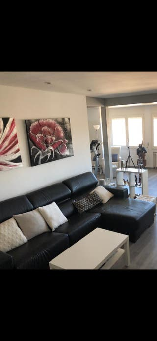 Sofa chaise-longue negro polipiel