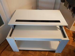 Mesa de centro elevable madera blanca