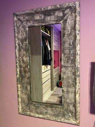 Espejo bambú gris y blanco pizarra