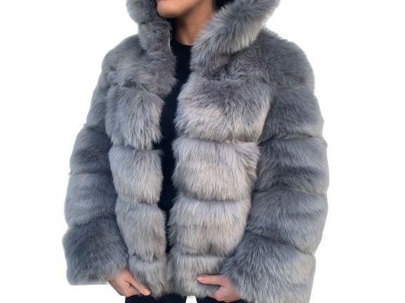 Grey faux fur coat with a hood