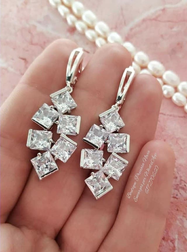 Preciosos Pendientes Joya Artesanal de novia plata