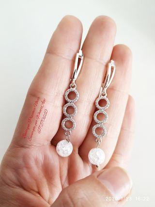 Muy finos Pendientes de plata joya para novia