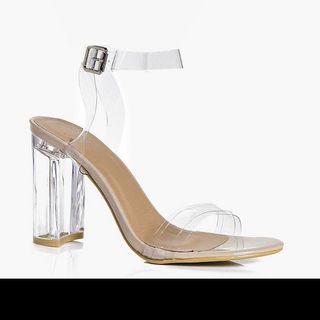 BOOHOO clear block heels