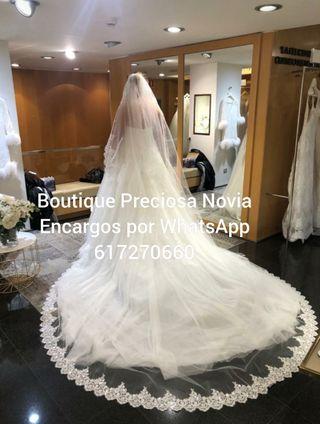 3x3,5 m Precioso Velo de novia de tull sedoso