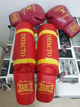 guantes boxeo charlie y espinilleras.