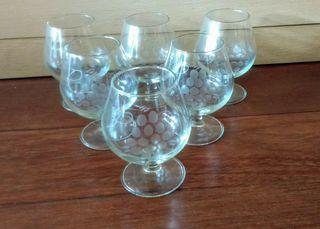 6 Copas vintage para licor, coñac, brandy