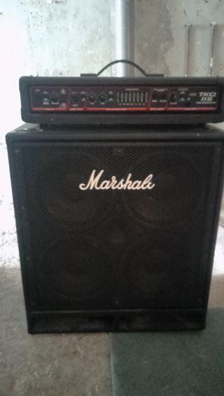 amplificador Peavy y pantalla Marshall para bajo