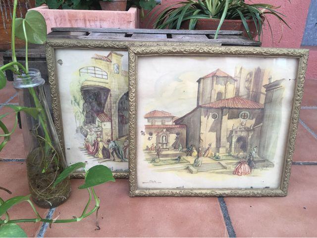 Antiguos cuadros dorados con ilustración