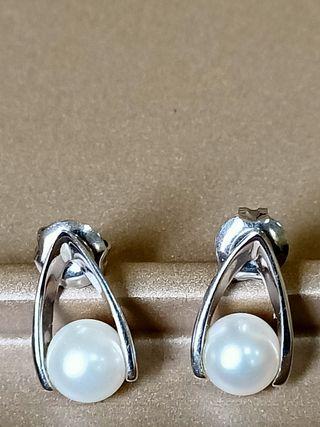 Pendientes oro blanco con perlas