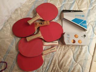 5 raquetas ping pong + 3 pelotas