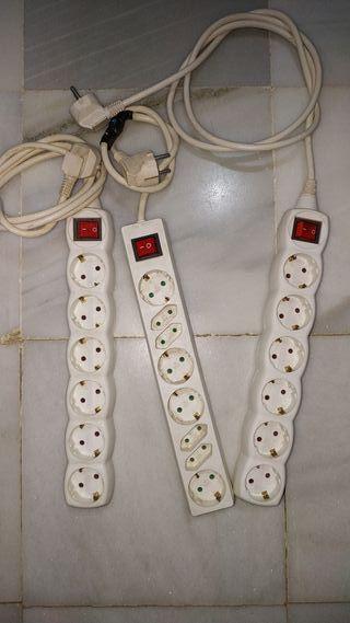 tres bases de enchufe múltiple con interruptor