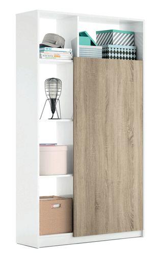 Mueble recibidor de 5 estantes color blanco brillo