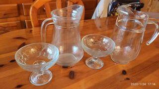 Jarras agua y copas postre