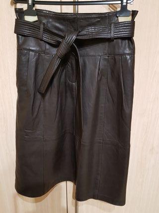 falda cuero_piel autentica marron