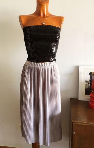 Falda Zara plisada color Lila talla M