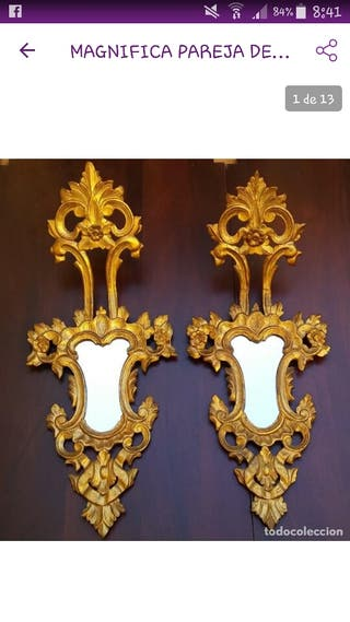 Antiguos espejos cornucopias de madera pan de oro